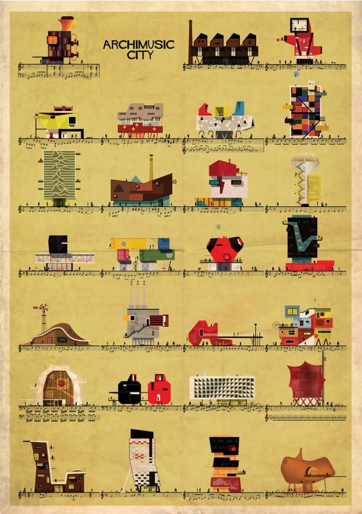 Archimusic: ilustraciones que transforman Música en Arquitectura