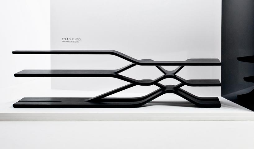 Milán 2014: Estanterías de granito negro - Zaha Hadid