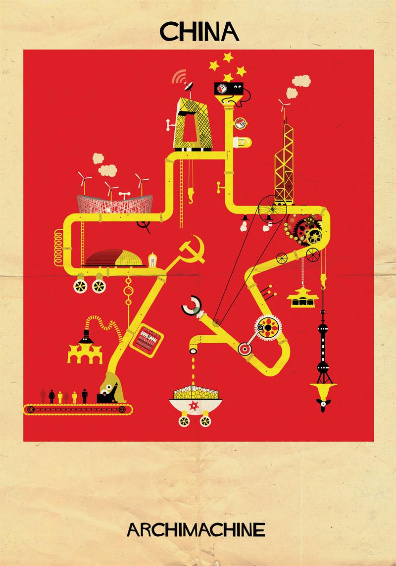 Archimachine: 17 Países Ilustrados como Máquinas Arquitectónicas