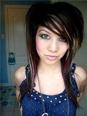 emo style hair girl. emo style hair girl.